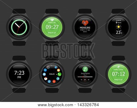 Smart Watches Wearable Collection Computer New Technology. Vector Illustration. Black Background.