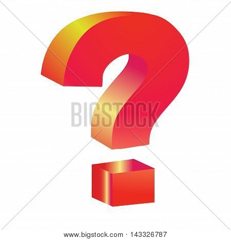 red question  3D sign isolated white background