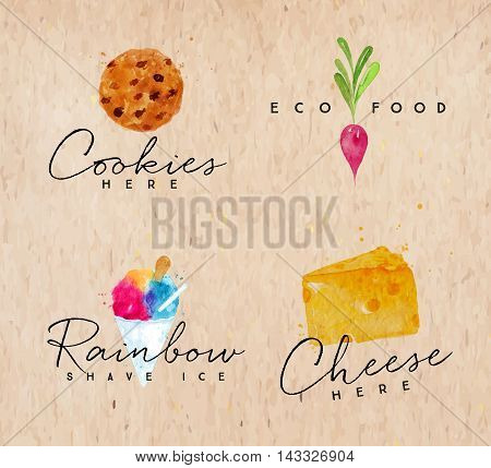 Set of watercolor labels lettering cookies here eco food rainbow shave ice cheese here drawing on kraft background