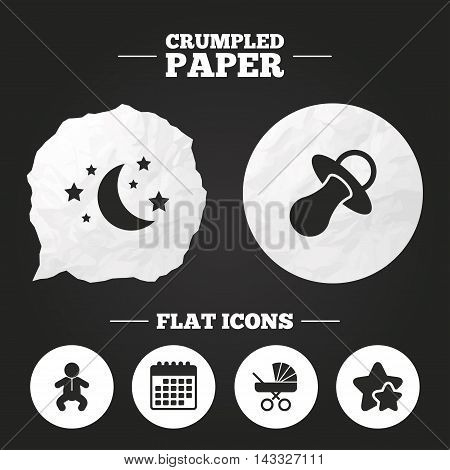 Crumpled paper speech bubble. Moon and stars symbol. Baby infants icon. Buggy and dummy signs. Child pacifier and pram stroller. Paper button. Vector