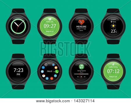 Smart Watches Wearable Collection Computer New Technology. Vector Illustration. Green Background.