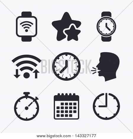 Smart watch wi-fi icons. Mechanical clock time, Stopwatch timer symbols. Wrist digital watch sign. Wifi internet, favorite stars, calendar and clock. Talking head. Vector