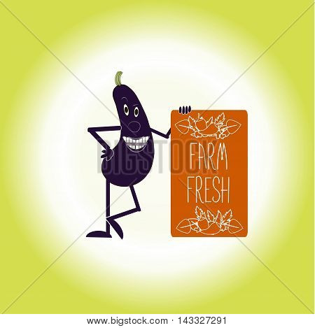 Typography banner with white lettering Farm fresh and decor on orange board, smiling purple eggplant, vector illustrator