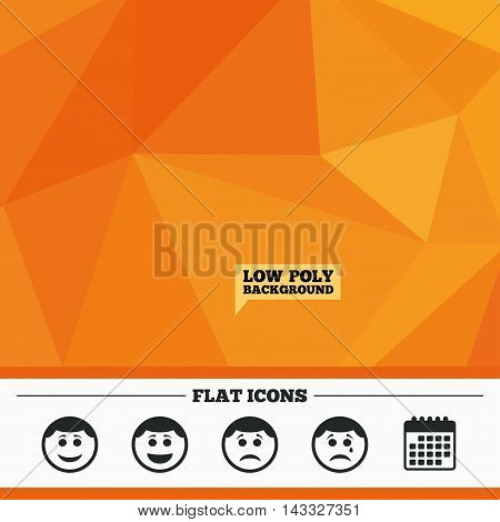 Triangular low poly orange background. Circle smile face icons. Happy, sad, cry signs. Happy smiley chat symbol. Sadness depression and crying signs. Calendar flat icon. Vector