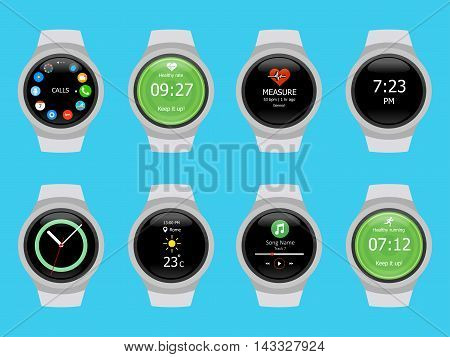 Smart watches wearable collection computer new technology. Vector Illustration. Blue background.