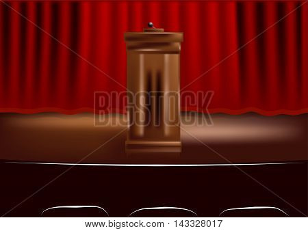 wooden podium tribune, light and red curtain