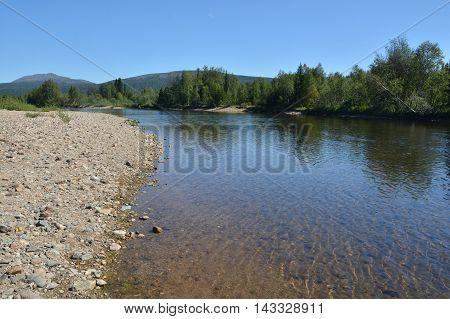 The Ural river Shchugor. Virgin Komi forests. The national Park