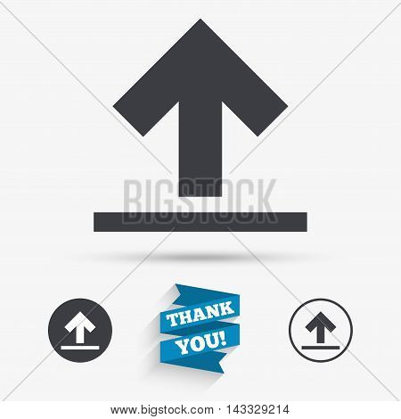 This side up sign icon. Fragile package symbol. Flat icons. Buttons with icons. Thank you ribbon. Vector