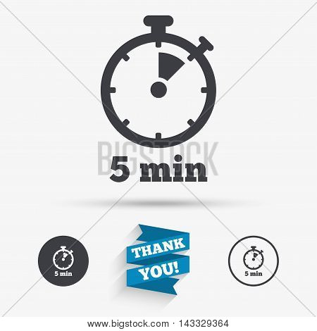 Timer sign icon. 5 minutes stopwatch symbol. Flat icons. Buttons with icons. Thank you ribbon. Vector