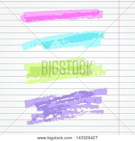 set of hand drawn highlighter elements  underlines