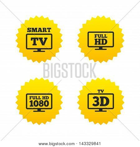 Smart TV mode icon. Widescreen symbol. Full hd 1080p resolution. 3D Television sign. Yellow stars labels with flat icons. Vector