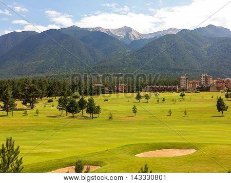 A View Of The Peaks Of Pirin Mountain (vihren And Todorka) Golf Club, Razlog, Bulgaria