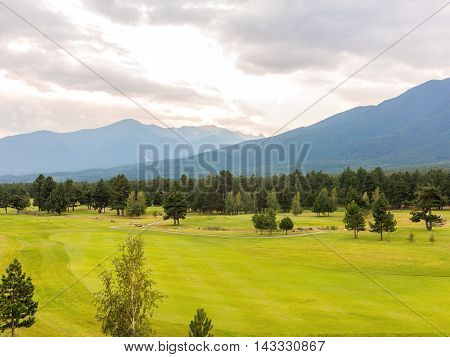 A View Of The Peaks Of Pirin Mountain (vihren And Todorka) Golf Club, Razlog, Bulgaria