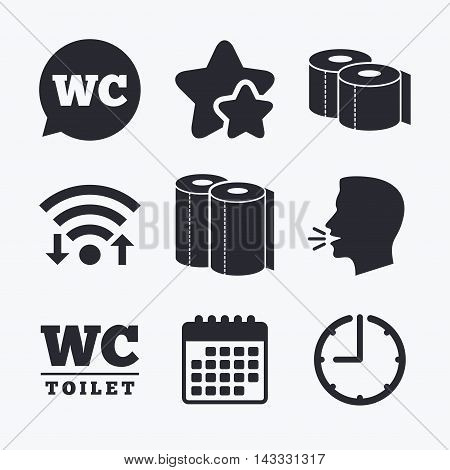 Toilet paper icons. Gents and ladies room signs. Paper towel or kitchen roll. Speech bubble symbol. Wifi internet, favorite stars, calendar and clock. Talking head. Vector
