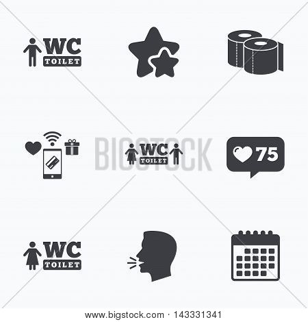 Toilet paper icons. Gents and ladies room signs. Man and woman symbols. Flat talking head, calendar icons. Stars, like counter icons. Vector