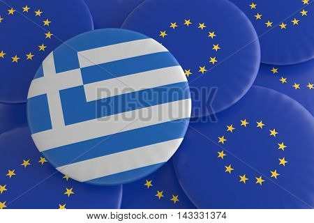 Greece And The European Union: Greek Flag And EU Flag Badges 3d illustration