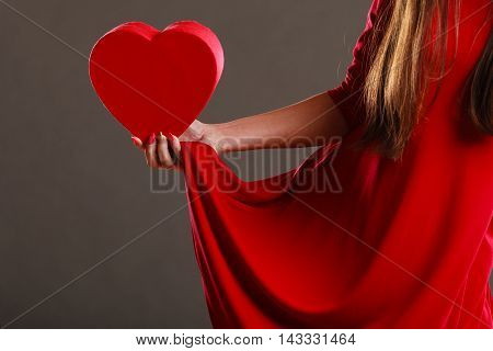 Woman Hands Holding Heart Shaped Box