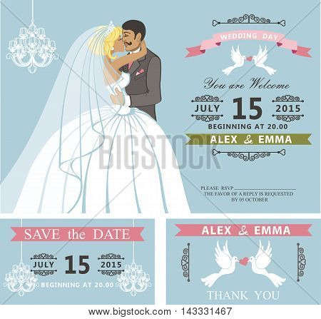Wedding invitation with Cartoon kissing couple bride and groom.Retro style.Swirling borders vignettes, ribbon, pigeons, chandelier.Design template set, thank you, save date card.Vintage Vector Illustration.