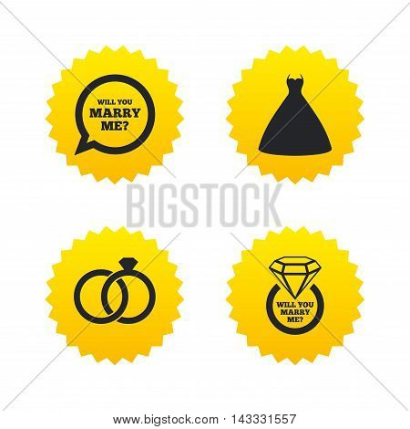 Wedding dress icon. Bride and groom rings symbol. Wedding or engagement day ring with diamond sign. Will you marry me speech bubble. Yellow stars labels with flat icons. Vector