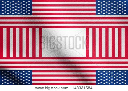 Patriotic USA design in style of the American flag with detailed fabric texture. Holiday background made of US flag simbols. Backdrop for greeting cards in the United States of America flag colors.