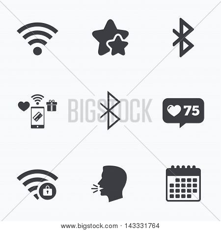 Wifi and Bluetooth icons. Wireless mobile network symbols. Password protected Wi-fi zone. Data transfer sign. Flat talking head, calendar icons. Stars, like counter icons. Vector
