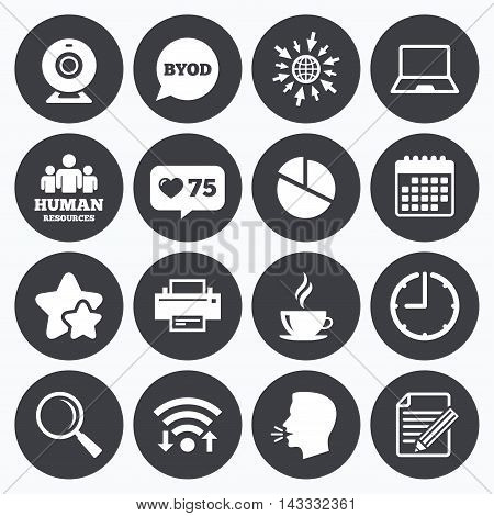 Calendar, wifi and clock symbols. Like counter, stars symbols. Office, documents and business icons. Pie chart, byod and printer signs. Report, magnifier and web camera symbols. Talking head, go to web symbols. Vector