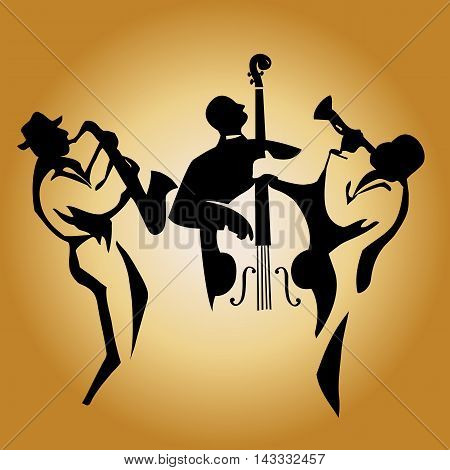 Jazz trio: stylized musicians' silhouettes in black on a golden background