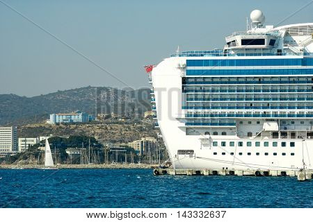 KUSADASI, Turkey - MAY 19, 2016: Cruise ships at port of Kusadasi. Editorial image
