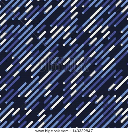 Vector Seamless Blue Navy Shades Diagonal Lines Irregular Pattern. Abstract Geometric Background Design