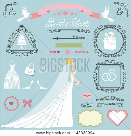 Wedding bridal shower decor set.Bride in long dress, swrling borders, frames, ribbon, cute, icons and label.Invitation card designers toolkit template.Vintage Vector, flat, fashion