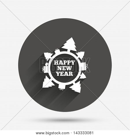 Happy new year globe sign icon. Gifts and trees symbol. Full rotation 360. Circle flat button with shadow. Vector