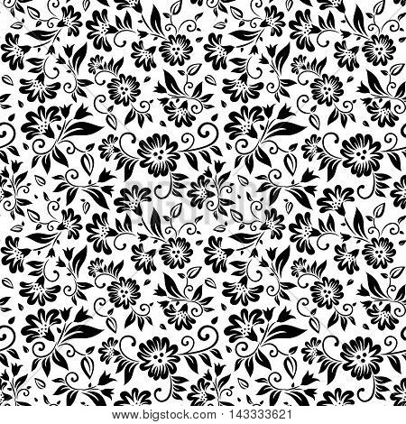 floral seamless pattern in black and white with leaves and flower design elements
