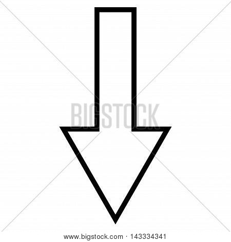 Arrow Down vector icon. Style is stroke icon symbol, black color, white background.