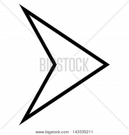 Arrowhead Right vector icon. Style is contour icon symbol, black color, white background.