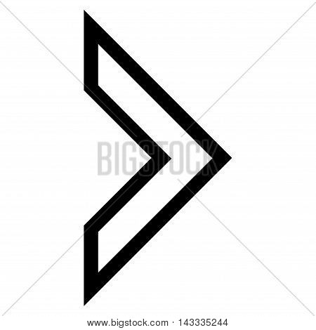 Arrowhead Right vector icon. Style is outline icon symbol, black color, white background.
