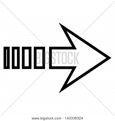 Send Right vector icon. Style is outline icon symbol, black color, white background.
