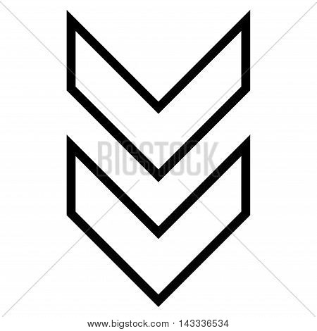 Shift Down vector icon. Style is thin line icon symbol, black color, white background.