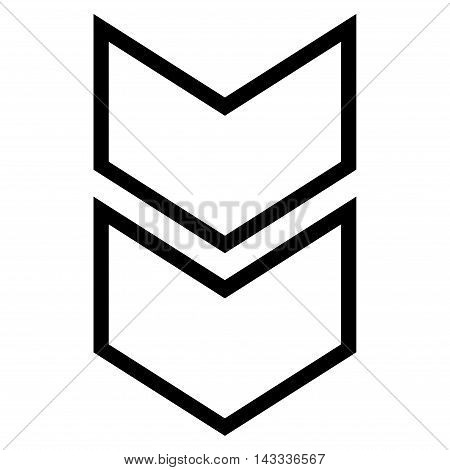 Shift Down vector icon. Style is outline icon symbol, black color, white background.