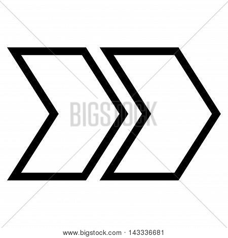 Shift Right vector icon. Style is outline icon symbol, black color, white background.