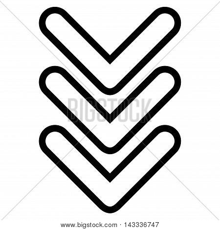 Triple Pointer Down vector icon. Style is contour icon symbol, black color, white background.