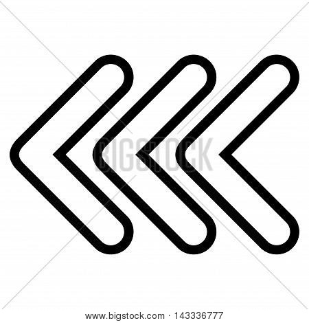 Triple Pointer Left vector icon. Style is thin line icon symbol, black color, white background.