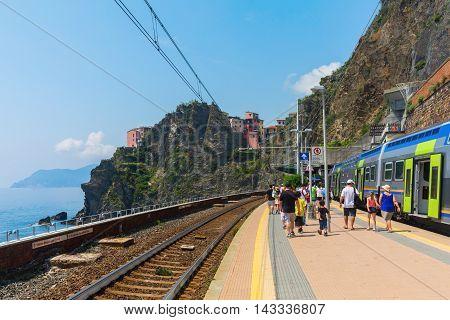 Train Station In Manarola, Cinqueterre, Italy