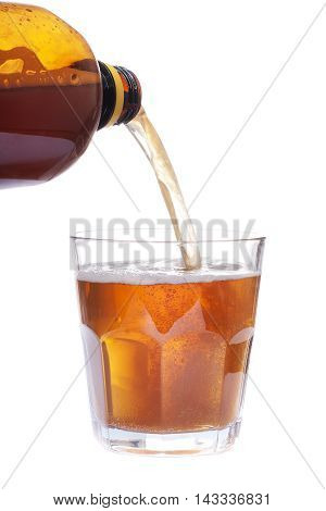 Glass Full Of Beer And Brown Bottle Isolated On White Background