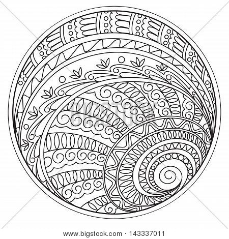 Hand drawn tangled mandalas and tracery into the circle in the Indian bojo tribal motifs. Image for adult coloring book decorate plates porcelain ceramics crockery. eps 10