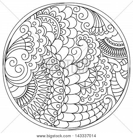 Hand drawn tangled mandalas and tracery into the circle in the Indian bojo tribal motifs. Image for adult coloring books decorate plates porcelain ceramics crockery. eps 10
