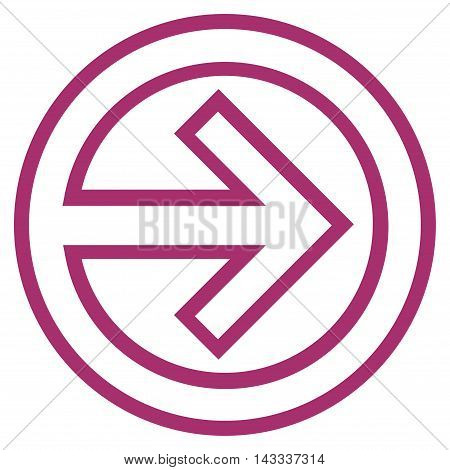 Import vector icon. Style is outline icon symbol, purple color, white background.