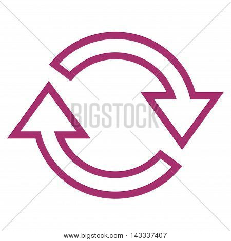 Refresh Arrows vector icon. Style is outline icon symbol, purple color, white background.