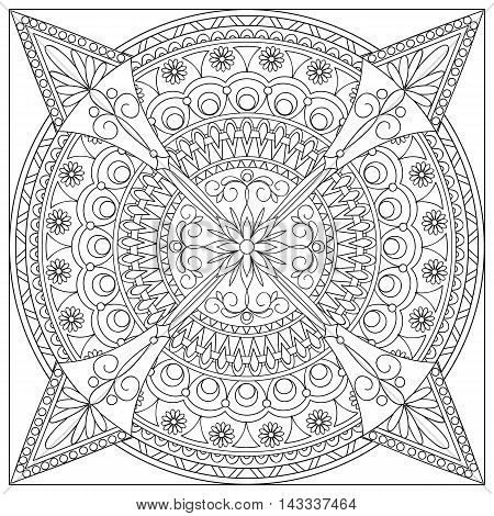 Mandala with hand drawn geometric elements and flowers into the square in Arabic Indian turkish pakistan chinese tribal motifs. Image for adult coloring book tattoo decorate plates porcelain ceramics crockery. eps 10
