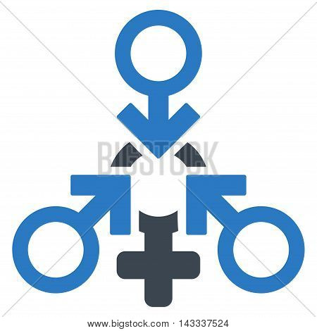 Triple Penetration Sex icon. Vector style is bicolor flat iconic symbol with rounded angles, smooth blue colors, white background.