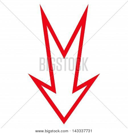 Arrow Down vector icon. Style is stroke icon symbol, red color, white background.